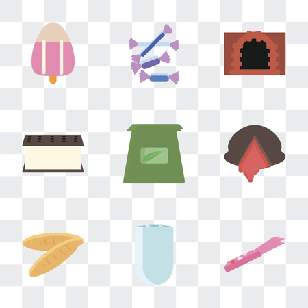 Set Of 9 simple transparency icons such as Gum, Iced coffee, Bread, Chocolate, Tea bag, Ice cream, Oven, Sweet, can be used for mobile, pixel perfect vector icon pack on transparent
