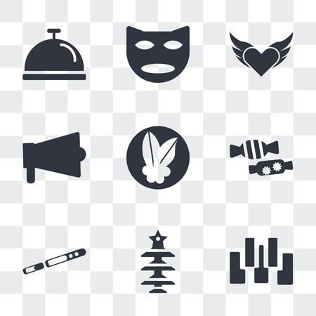 Set Of 9 simple transparency icons such as Seven piano keys, Christmas tree with Star, Sax, Candy, Mistletoe Leaves, Amplifier, Devil heart wings, Two carnival masks, Cove food tray, can be used