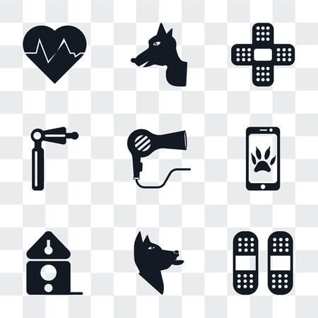 Set Of 9 simple transparency icons such as Plaster, Dog, Birdhouse, Smartphone, Dryer, Otoscope, Heartbeat, can be used for mobile, pixel perfect vector icon pack on transparent Иллюстрация
