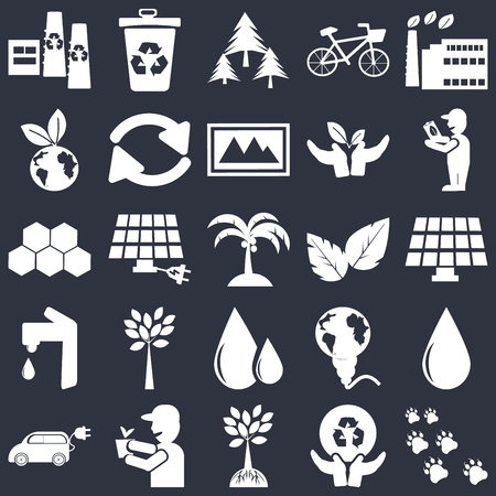 Set Of 25 simple editable icons such as Eco factory, Global recycling, Awareness, volunteer, Electric Car, Drop, energy power, web UI icon pack, pixel perfect