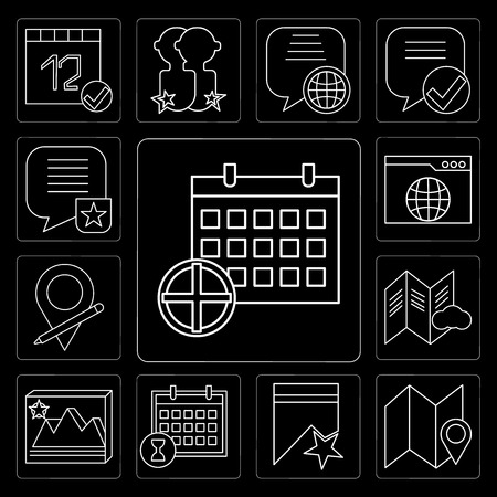 Set Of 13 simple editable icons such as Calendar, Map, Bookmark, Image, File, Placeholder, Browser, Speech bubble on black background Stock Illustratie