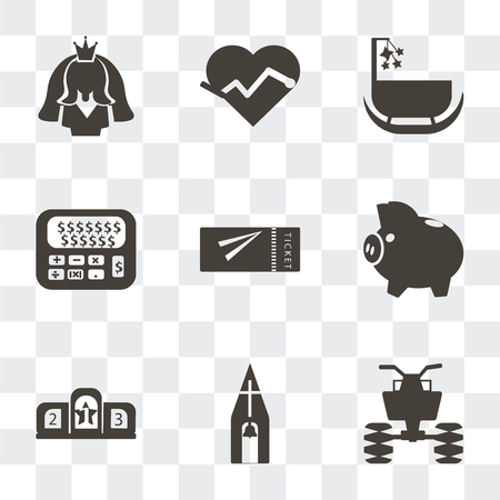 Set Of 9 simple transparency icons such as All terrain vehicle, Church, Podium, Piggy bank with coin, Airplane flight tickets, Calculator and dollar, Cradle, Electrocardiogram on heart shape, Bride