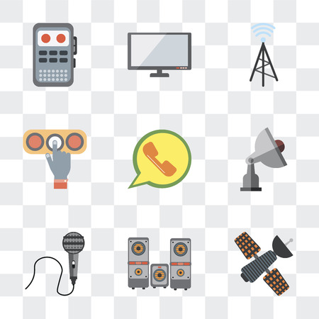 Set Of 9 simple transparency icons such as Satellite, Sound box, Voice recorder, Radio antenna, Mobile phone, Touch screen, Wireless connectivity, Tv Recorder, can be used for mobile, pixel Illustration
