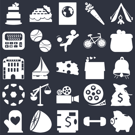 Set Of 25 simple editable icons such as Camping tent, Gym weight, Coin purse, Citrus fruits, Cooking mitts, Bag of money with dollar, Sailboat drifting, web UI icon pack, pixel perfect Stock Illustratie
