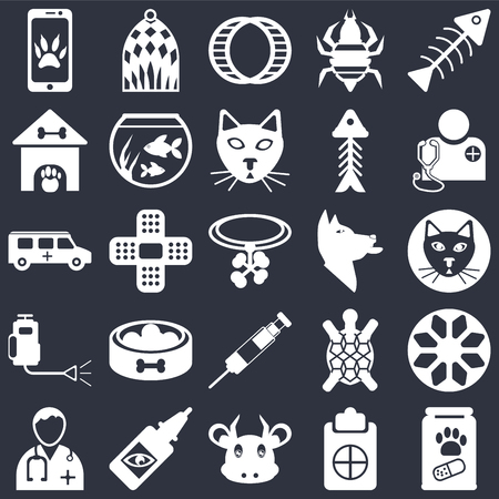 Set Of 25 icons such as Pills, Notepad, Cow, Eye drops, Doctor, Veterinarian, Dog, Vaccine, Insecticide, Kennel, Hamster ball, Bird cage on black background, web UI editable icon pack