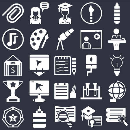 Set Of 25 simple editable icons such as Marker pen, Graduation cap and diploma, Conference hall, Glue bottle, Winner medal, Globe, Notebook mouse cursor, web UI icon pack, pixel perfect