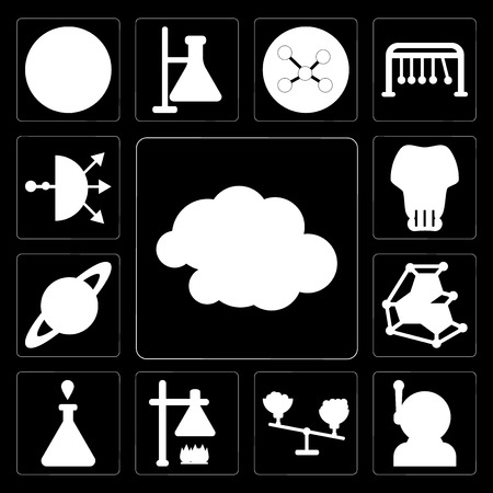Set Of 13 simple editable icons such as Cloudy, Astronaut, Scale, Burner, Test tube, Organism, Saturn, Skull, Distribution on black background Vectores