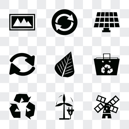 Set Of 9 simple transparency icons such as Wind mills, Eco Plug, Recycle, Recycled bag, Leaf, Recycle arrows, Solar Energy, Reload, Landscape Image, can be used for mobile, pixel perfect vector icon 写真素材 - 112019022