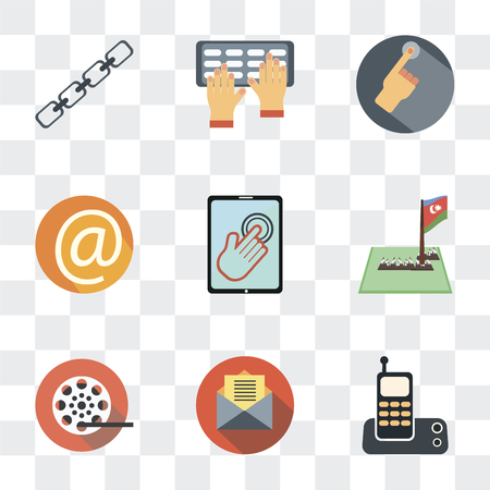 Set Of 9 simple transparency icons such as Phone connectivity, Mailing, Film reel, Maps and Flags, Touch screen, At, Hand gesture, Typing, Chains, can be used for mobile, pixel perfect vector icon
