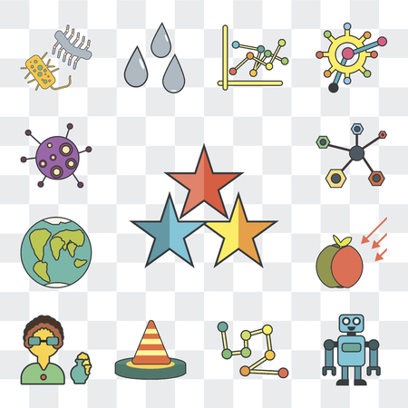 Set Of 13 simple editable icons such as Star, Robot, Constellation, Cone, Scientist, Gravity, Planet earth, Structure, Microorganisms on transparent background