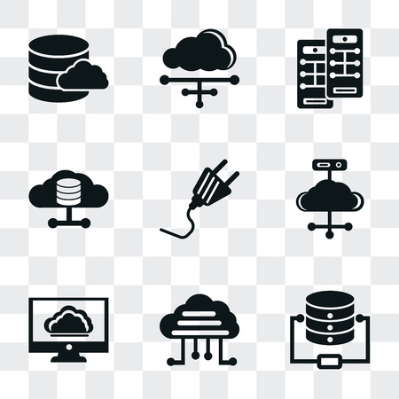 Set Of 9 simple transparency icons such as Database, Cloud computing, Plug, Server, Cloud, can be used for mobile, pixel perfect vector icon pack