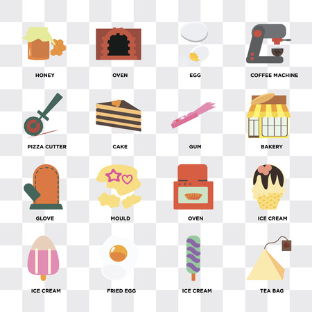 Set Of 16 icons such as Tea bag, Ice cream, Fried egg, Honey, Pizza cutter, Glove, Gum on transparent background, pixel perfect
