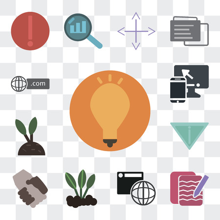 Set Of 13 simple editable icons such as Idea, Notepad, Browser, Sprout, Handshake, Yield, Growth, Responsive, Domain on transparent background