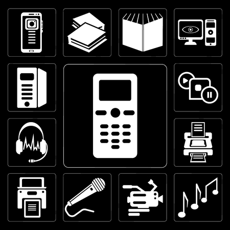 Set Of 13 simple editable icons such as Mobile phone, Music note, Video camera, Microphone black shape, Printer with written paper, Printer, Headphones shape on background