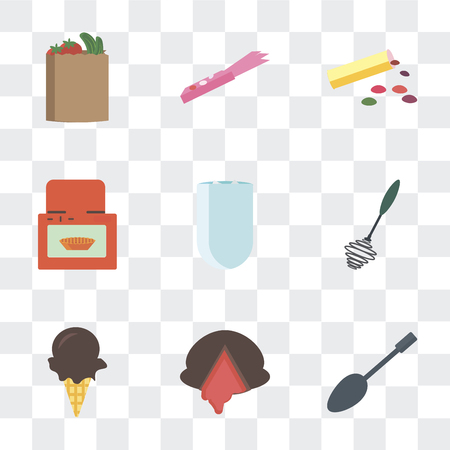 Set Of 9 simple transparency icons such as Spoons, Chocolate, Ice cream, Whisk, Iced coffee, Oven, Bonbon, Gum, Bag, can be used for mobile, pixel perfect vector icon pack on transparent background Stock Illustratie