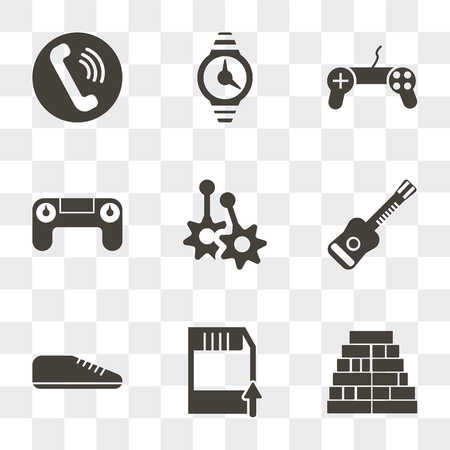 Set Of 9 simple transparency icons such as Blocks, Diskette, Sneaker, Electric guitar, Earring, Controller, Joystick, Watch, Telephone, can be used for mobile, pixel perfect vector icon pack on Ilustracja