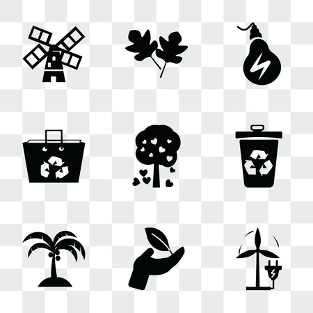 Set Of 9 simple transparency icons such as Eco Plug, Plant on a hand, Coconut tree, Recycle bin, Tree with hearts, Recycled bag, Energy, Two leaves, Wind mills, can be used for mobile, pixel perfect 写真素材 - 112019091