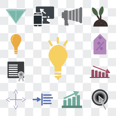 Set Of 13 simple editable icons such as Marketing, Target, Growth, Margin, Diversify, Fluctuation, Certificate, Commission, Idea on transparent background