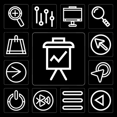 Set Of 13 simple editable icons such as Presentation, Left arrow, Menu, tooth, Power, Cursor, Right Bag on black background