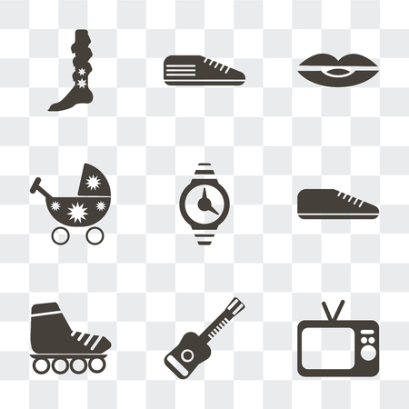 Set Of 9 simple transparency icons such as Television, Electric guitar, Roller skate, Sneaker, Watch, Stroller, Lips, Leg warmer, can be used for mobile, pixel perfect vector icon pack on