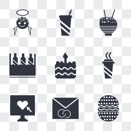 Set Of 9 simple transparency icons such as Hamburger with Bacoon, Wedding Invitation, Heart in a Screen, Hot Coffee Cup, Birthday cake one candle, Wine bottles box, Chinese food Soda