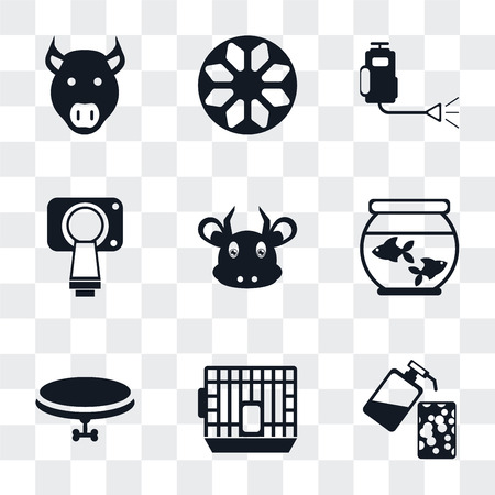 Set Of 9 simple transparency icons such as Soap, Cage, Collar, Aquarium, Cow, Magnetic resonance, Insecticide, Ball, Pig, can be used for mobile, pixel perfect vector icon pack on transparent