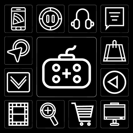 Set Of 13 simple editable icons such as Gamepad, Monitor, Shopping cart, Zoom, Video, Left arrow, Down Bag, Cursor on black background Illustration