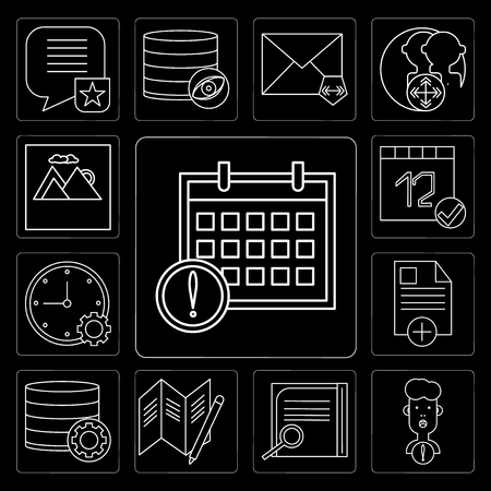Set Of 13 simple editable icons such as Calendar, User, Notepad, Map, Database, File, Stopwatch, Image on black background Stock Illustratie