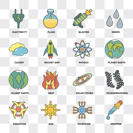 Set Of 16 icons such as Dropper, Microchip, Sun, Radiation, Microorganisms, Electricity, Cloudy, Planet earth, Physics on transparent background, pixel perfect