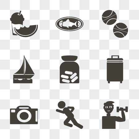 Set Of 9 simple transparency icons such as Exercise with dumbbells, Man sprinting, Camera front view, Luggage, Pills, Sailboat drifting, Basketball, Cooked fish, Slice of melon and juice, can be used