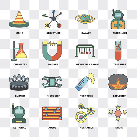 Set Of 16 icons such as Stars, Mechanics, Adjust, Astronaut, Explosion, Cone, Chemistry, Burner, Newtons cradle on transparent background, pixel perfect Illustration