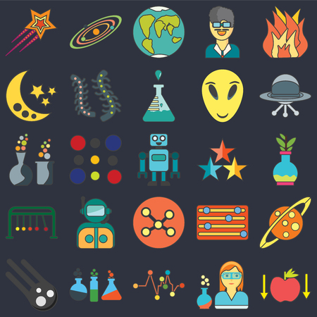 Set Of 25 icons such as Gravity, Scientist, , Chemistry, Meteor, Ufo, Star, Network, Newtons cradle, Moon, Planet earth, Solar system on black background, web UI editable icon pack