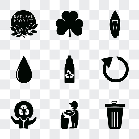 Set Of 9 simple transparency icons such as Dust bin, Recycling, Global recycling, Reload arrows, Recycled bottle, Drop, Light Bulb, Leaves, 100 % natural badge, can be used for mobile, pixel perfect 写真素材 - 112019175