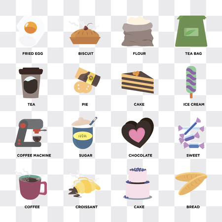 Set Of 16 icons such as Bread, Cake, Croissant, Coffee, Sweet, Fried egg, Tea, Coffee machine on transparent background, pixel perfect
