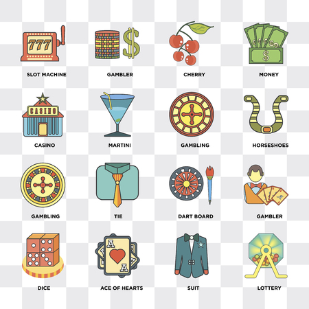 Set Of 16 icons such as Lottery, Suit, Ace of hearts, Dice, Gambler, Slot machine, Casino, Gambling on transparent background, pixel perfect