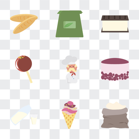 Set Of 9 simple transparency icons such as Flour, Ice cream, Milk, Cake, Baker, Lollipop, Tea bag, Bread, can be used for mobile, pixel perfect vector icon pack on transparent background Stock Illustratie