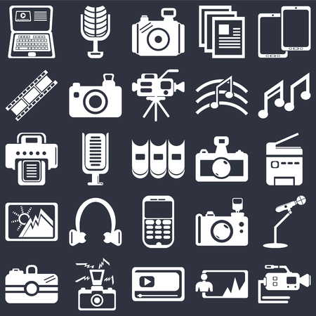 Set Of 25 simple editable icons such as Video camera, Printer, Music note, Microphone of vintage de, Camera, Photo Reflex photo Printer on black background, web UI icon pack
