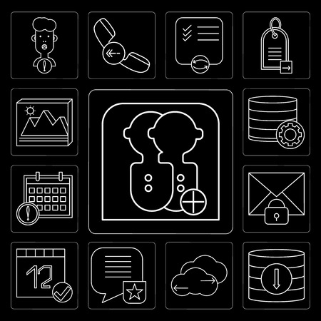 Set Of 13 simple editable icons such as User, Database, Cloud computing, Speech bubble, Calendar, Mail, Image on black background