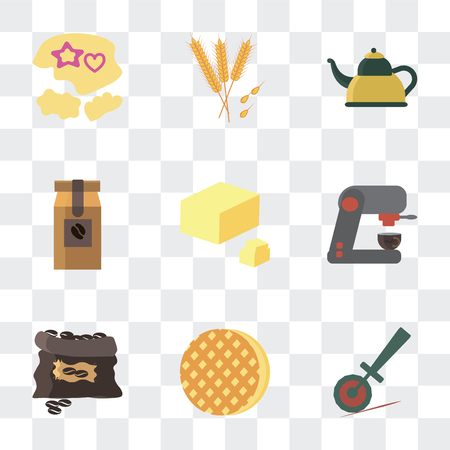 Set Of 9 simple transparency icons such as Pizza cutter, Ice cream, Coffee grain, machine, Butter, bag, Kettle, Wheat, Mould, can be used for mobile, pixel perfect vector icon pack on