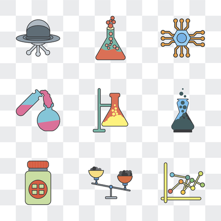Set Of 9 simple transparency icons such as Scale, Medicine, Chemistry, Test tube, Microchip, Flask, Ufo, can be used for mobile, pixel perfect vector icon pack on transparent background