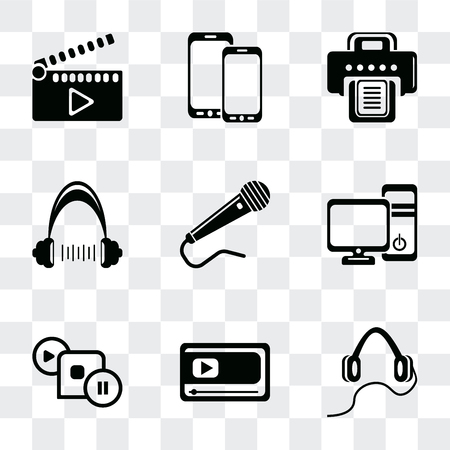 Set Of 9 simple transparency icons such as Headphones, Movie player, Image with frame, Computer tower and the monitor, Microphone black shape, Headphone, Printer, Screen blank, clapper, can be