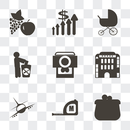 Set Of 9 simple transparency icons such as Coin purse, Measuring tape, Airplane flight, Hotel building, Camera and heart picture, Give up smoking, Stroller, Improve incomes, Apple grapes, can be
