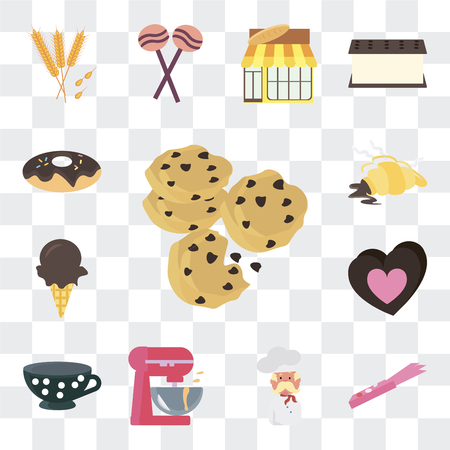 Set Of 13 simple editable icons such as Cookie, Gum, Baker, Mixer, Tea cup, Chocolate bar, Ice cream, Croissant, Donut on transparent background