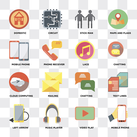 Set Of 16 icons such as Mobile phone, Video play, Music player, Left arrow, Text lines, Domestic, Cloud computing, Lace on transparent background, pixel perfect