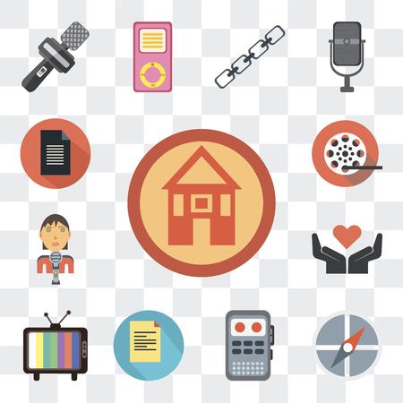 Ensemble de 13 icônes modifiables simples telles que domestique, points cardinaux, enregistreur, lignes de texte, téléviseurs, geste de la main, journaliste masculin, bobine de film sur fond transparent
