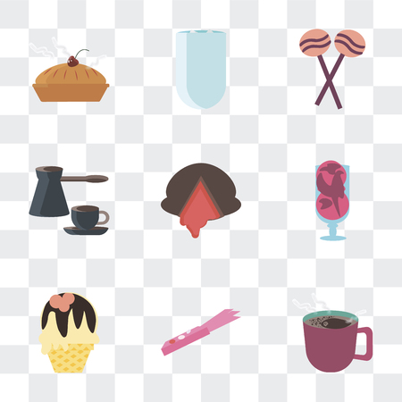 Set Of 9 simple transparency icons such as Coffee, Gum, Ice cream, Chocolate, Sweet, Iced coffee, Biscuit, can be used for mobile, pixel perfect vector icon pack on transparent Illustration