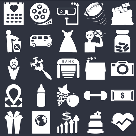 Set Of 25 simple editable icons such as Camera front view, Improve incomes, International passport, Baby wrapped on swaddling clothes, Bank, web UI icon pack, pixel perfect