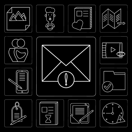 Set Of 13 simple editable icons such as Mail, Stopwatch, Notebook, List, Price tag, Folder, Smartphone, Video player, User on black background Stock Illustratie