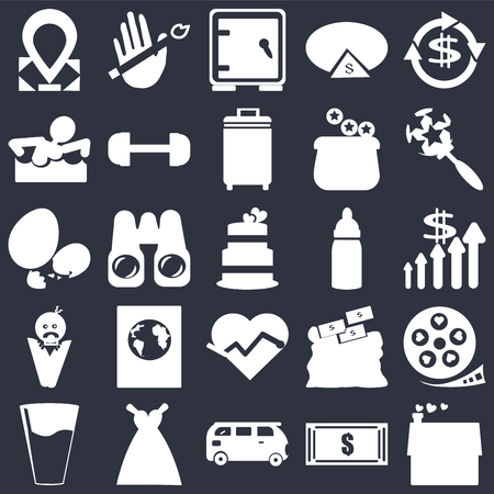 Set Of 25 simple editable icons such as Dollar, Dollar bills, Baby's rattle, Bride Dress, Glass of water with drop, Film strip heart, Pair binoculars, web UI icon pack, pixel perfect