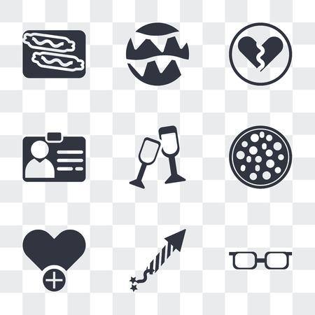 Ensemble de 9 icônes de transparence simples telles qu'adolescent avec des lunettes de soleil, pétards, ajouter aux favoris, coupe de tranche de pizza, acclamations, passe d'identification, cœur brisé, guirlandes de célébration, saucisse brûlante Vecteurs